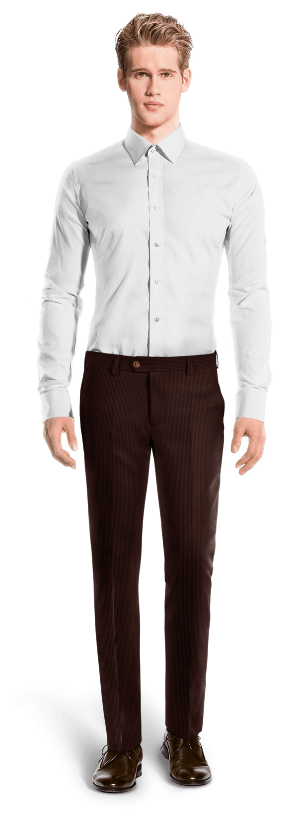 Brown slim fit striped corduroy Pants