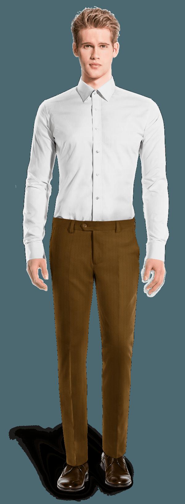 Braune Gestreifte Hose aus kord