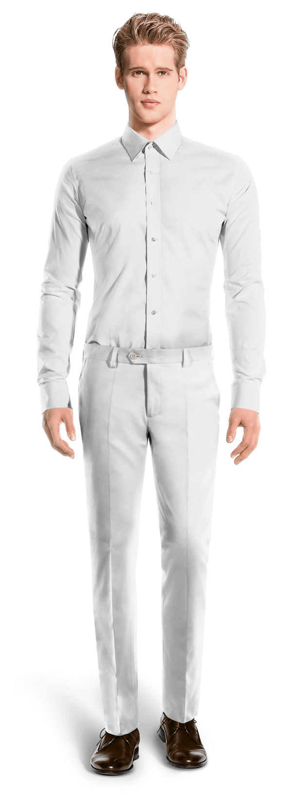 белые льняные приталенные брюки
