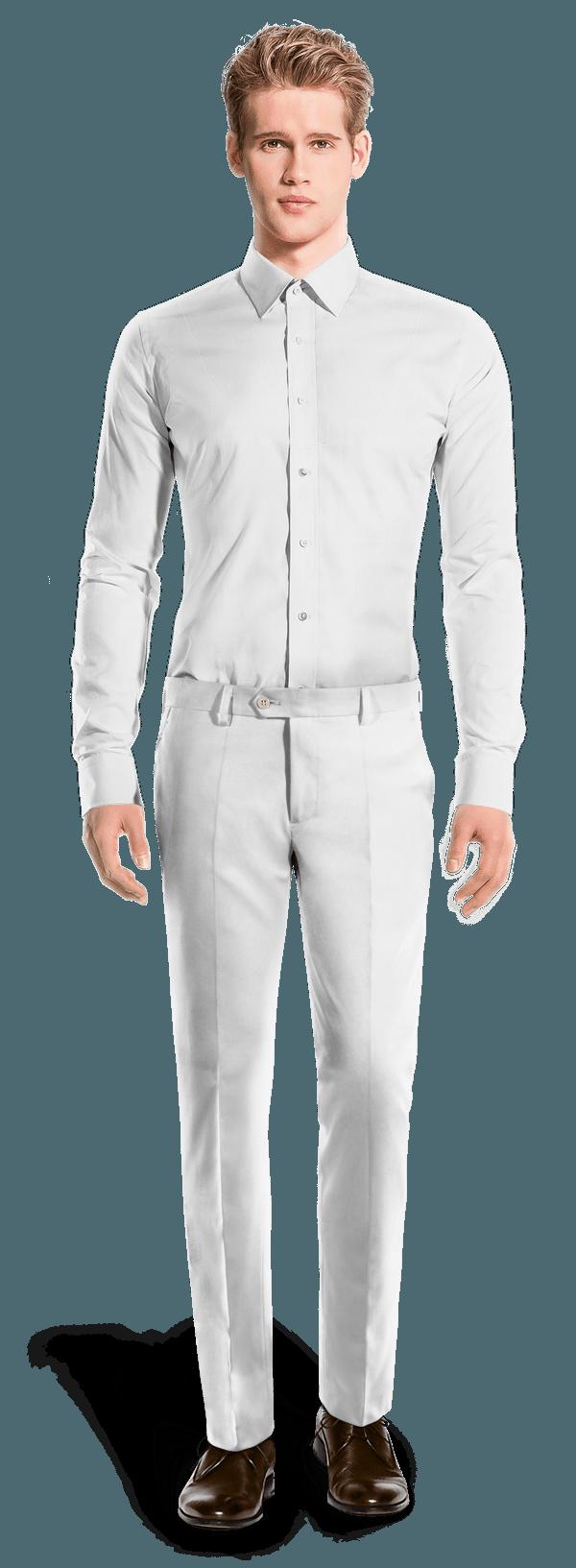 Pantalon blanc coupe cintrée en Lin