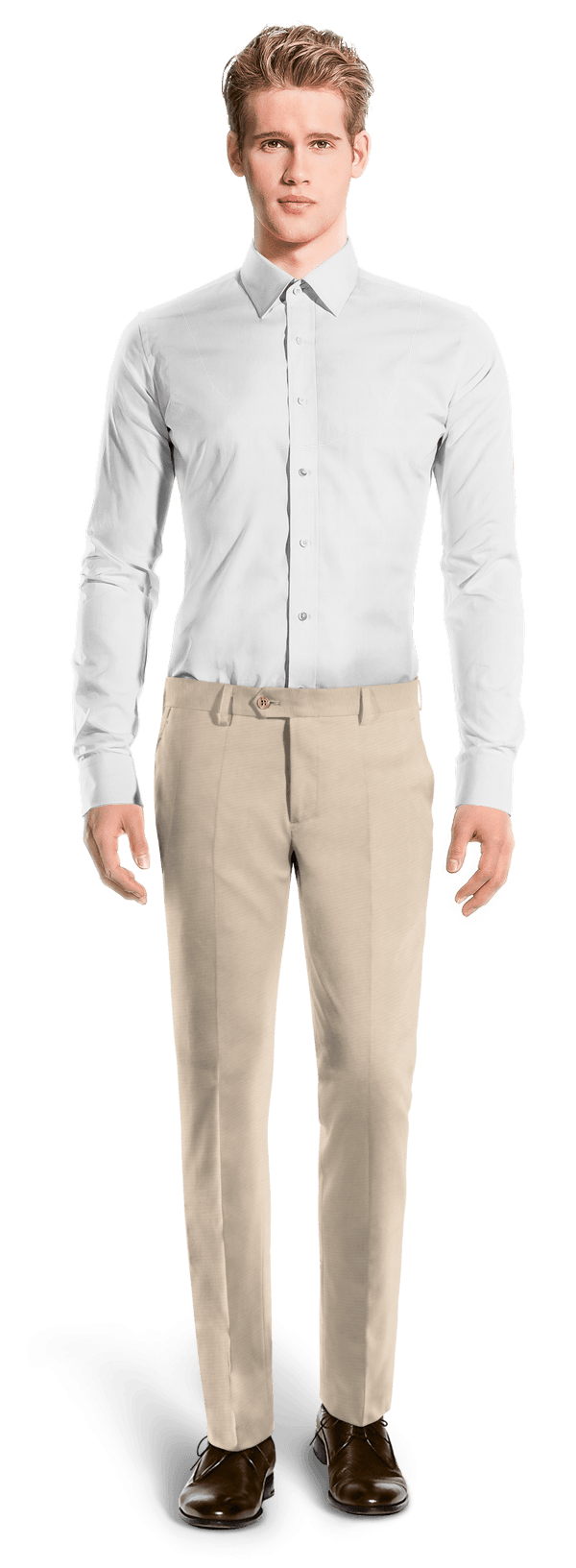 Beige slim fit wool Trousers