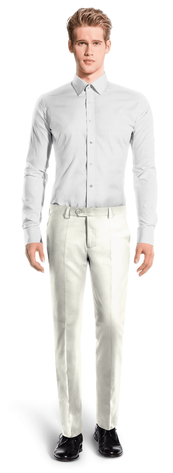 Beige slim fit polyester Pants