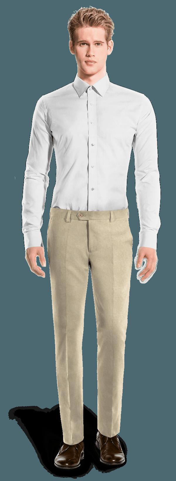 Beige tailliert Hose aus Leinen