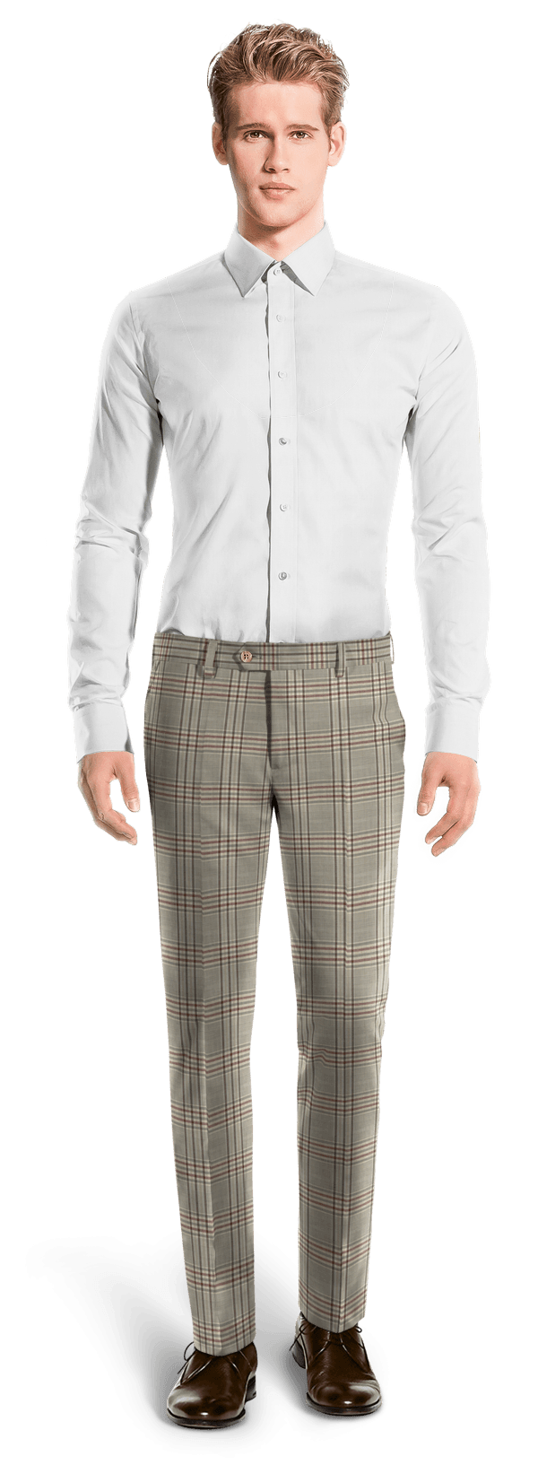 Brown slim fit checked wool Trousers