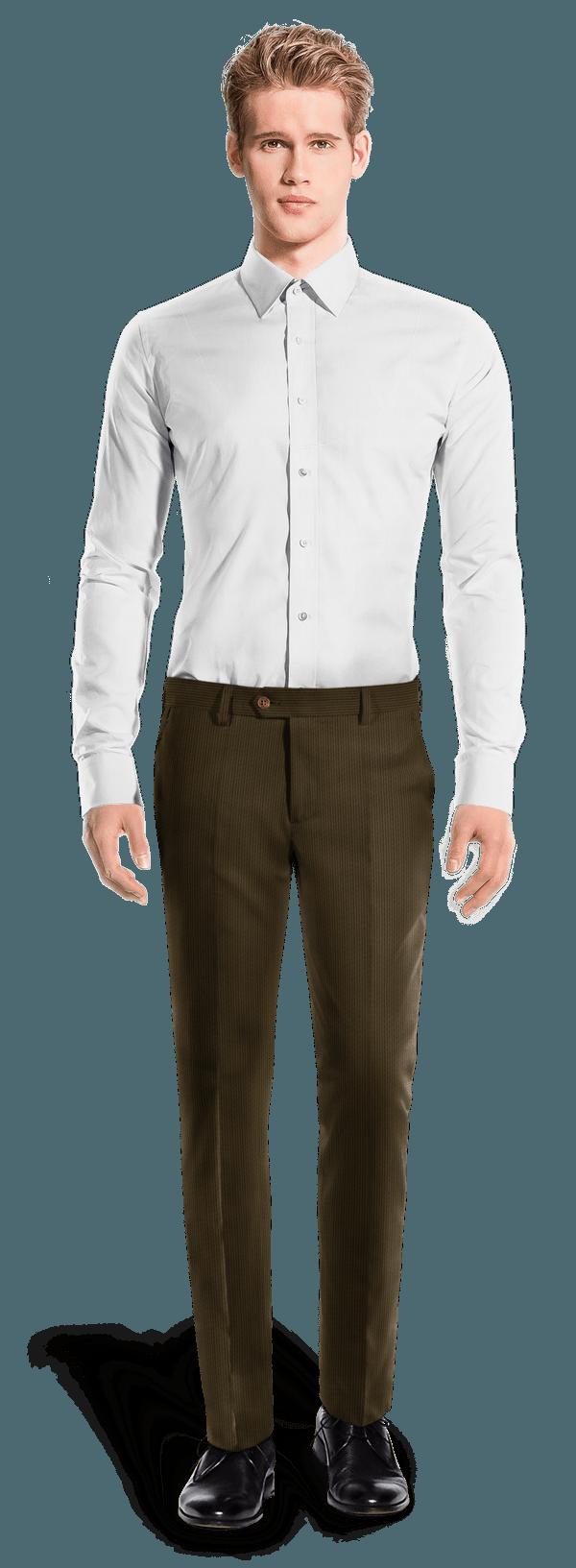 Pantalon marron coupe cintrée à rayures en Velours côtelé