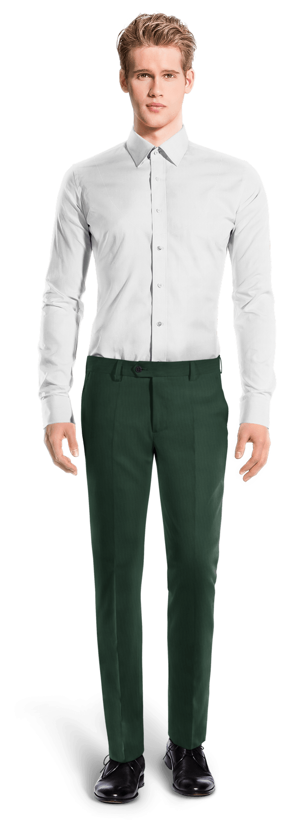 Green slim fit wool Pants