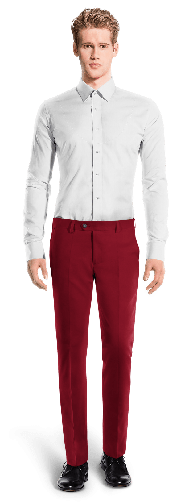 Red slim fit wool Trousers