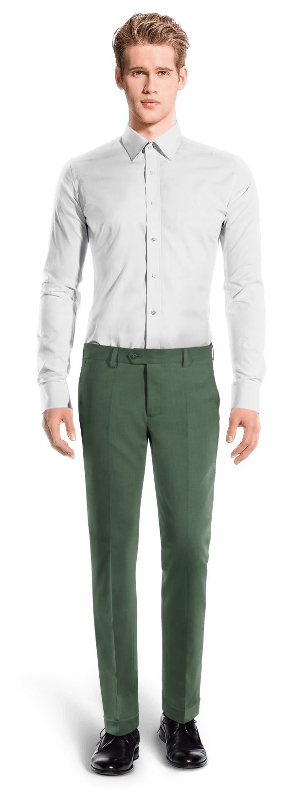 Green slim fit wool Trousers