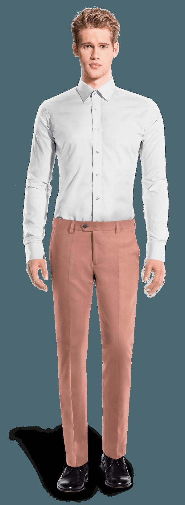 Chino rose coupe cintrée