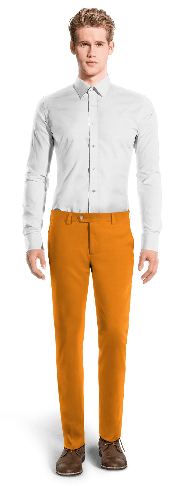 Chino orange coupe cintrée