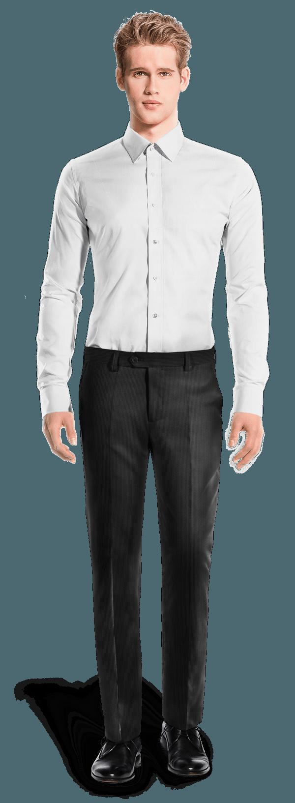 Schwarze gerade Passform Hose aus Cord