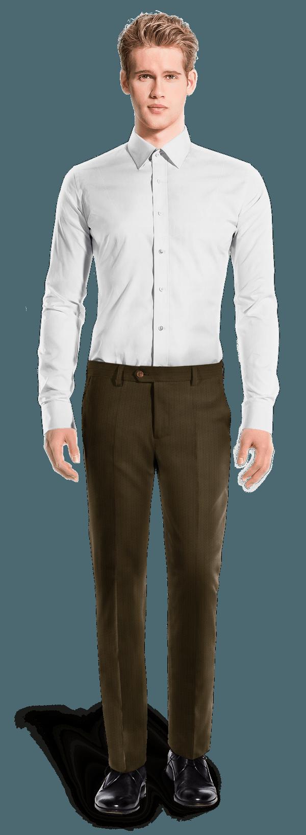 Pantaloni dritti marroni di velluto a coste