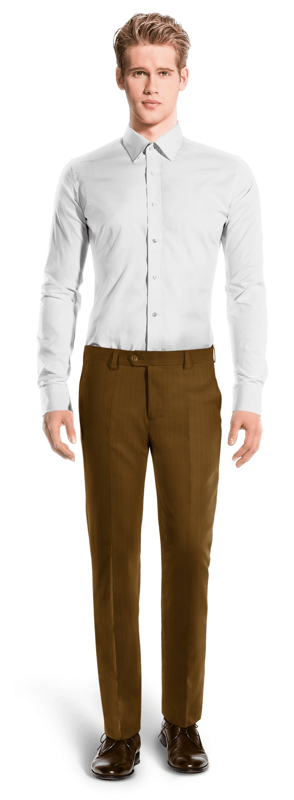 Brown straight fit corduroy Pants