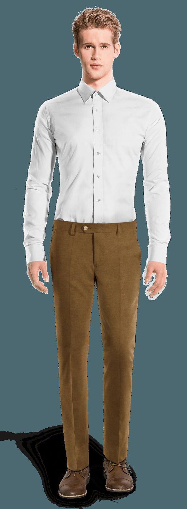 коричневые твидовые приталенные чинос