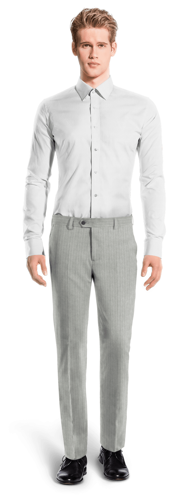 Grey straight fit striped linen Pants