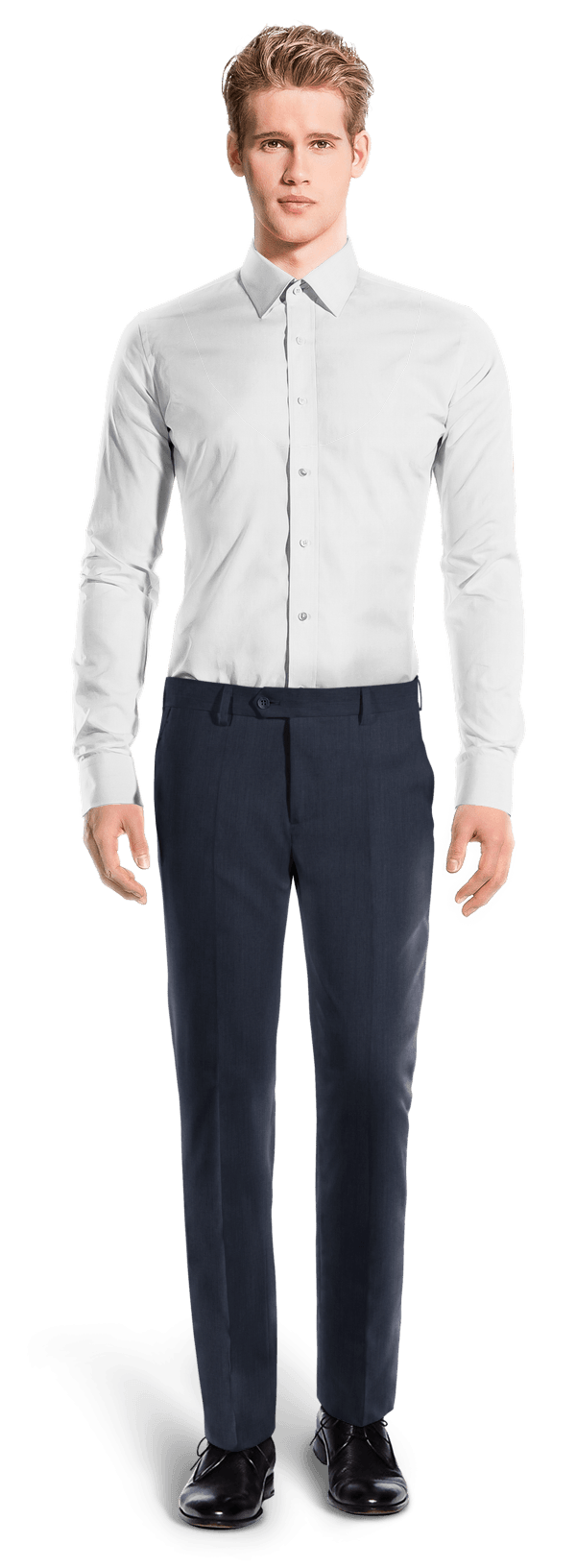 Blue straight fit linen Trousers