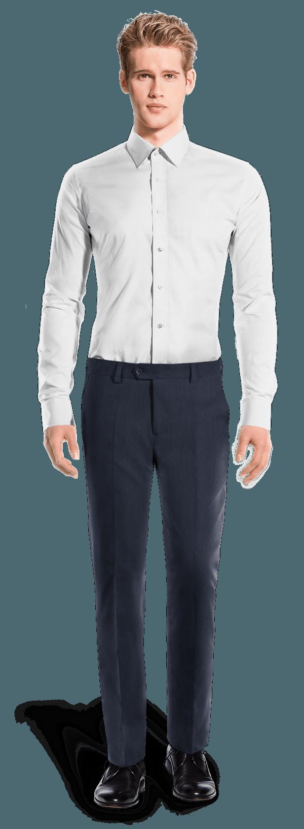 Blaue gerade Passform Hose aus Leinen