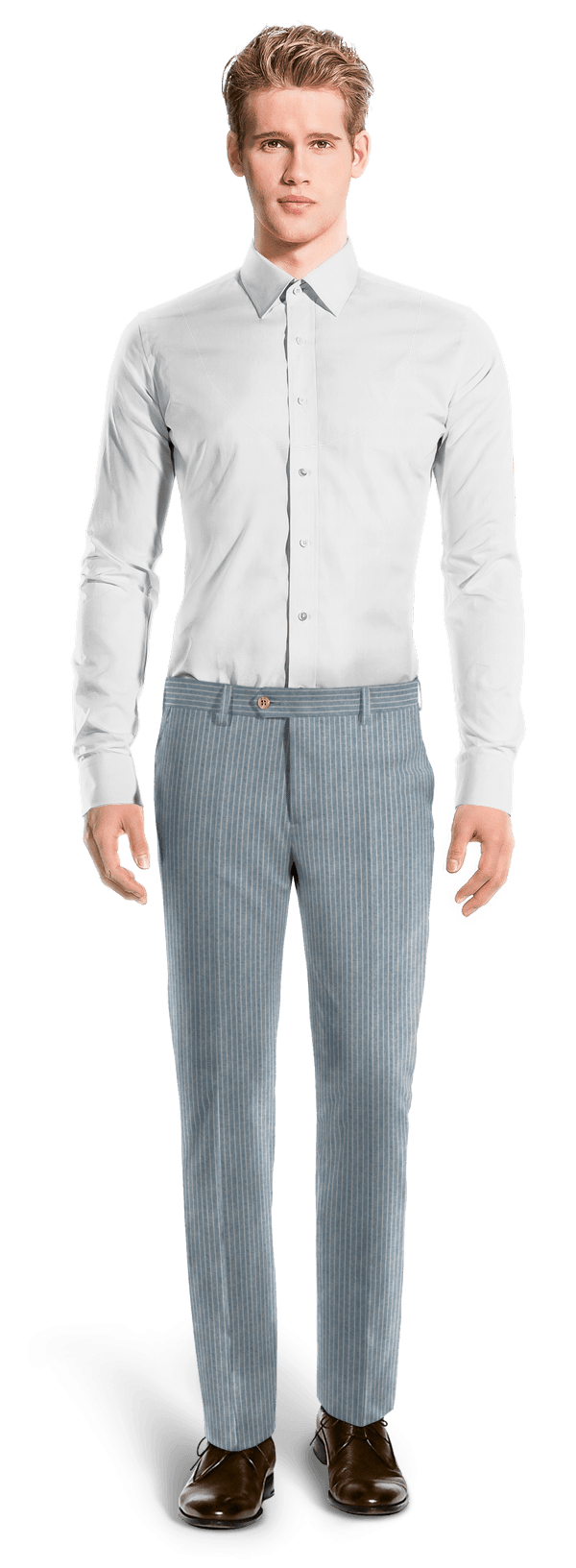 Blue straight fit striped linen Pants