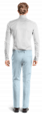 Blue straight fit linen Pants-View Back