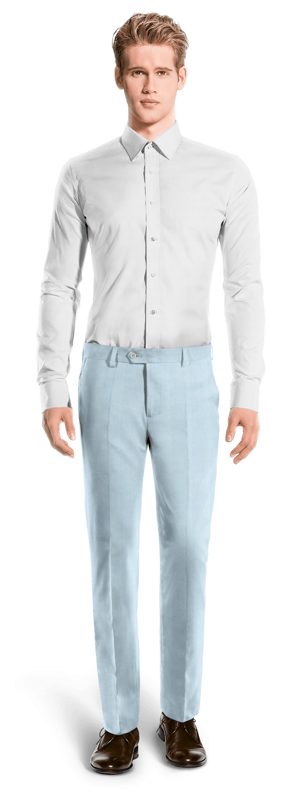Blue straight fit linen Pants
