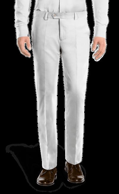 Pantalón blanco de corte recto de Lino-Vista Frontal 7a527599995