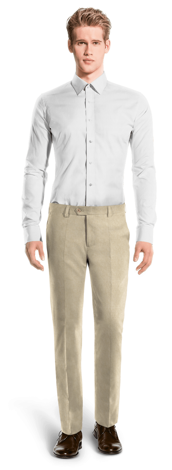 Beige straight fit linen Pants