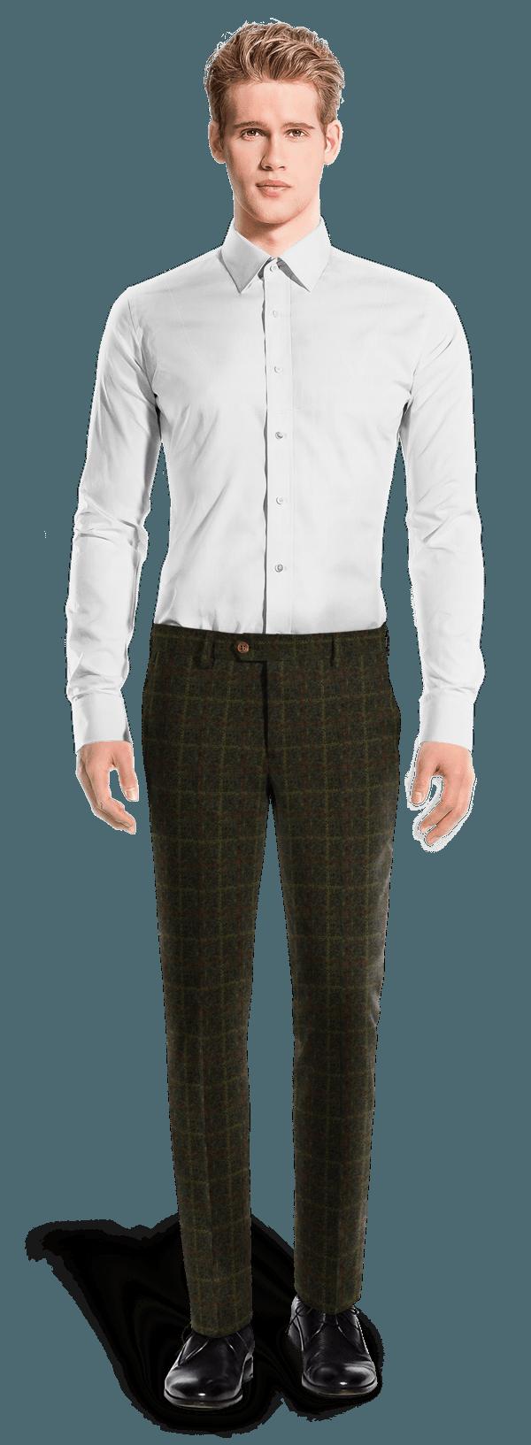 Pantalon vert coupe cintrée à carreaux en tweed