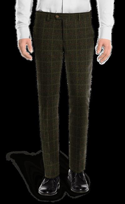 5bed6a9abefdf Pantalón verde de corte slim de tweed a cuadros-Vista Frontal