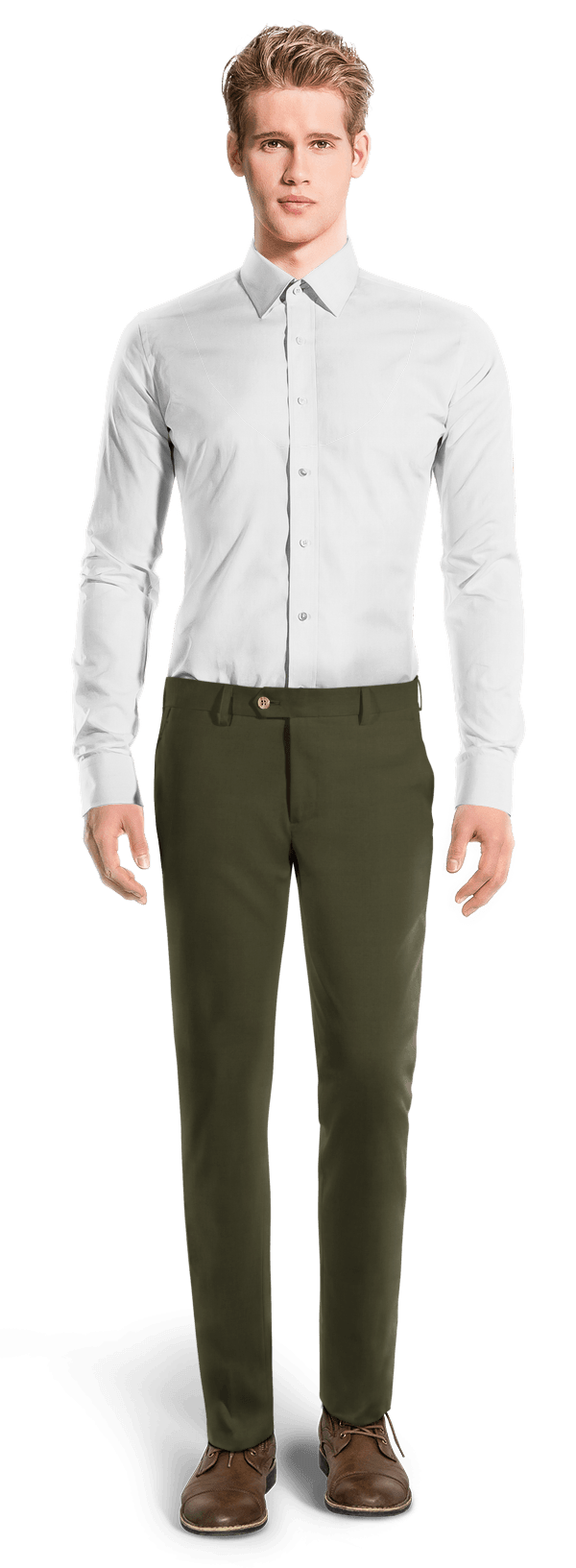 Green slim fit Chinos