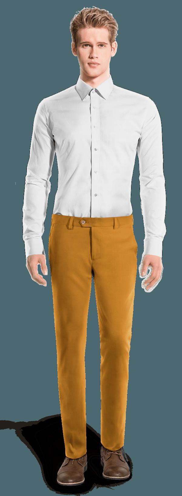 Yellow slim fit Chinos