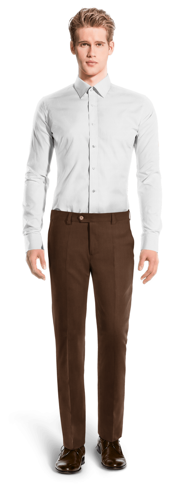 Brown straight fit linen Pants