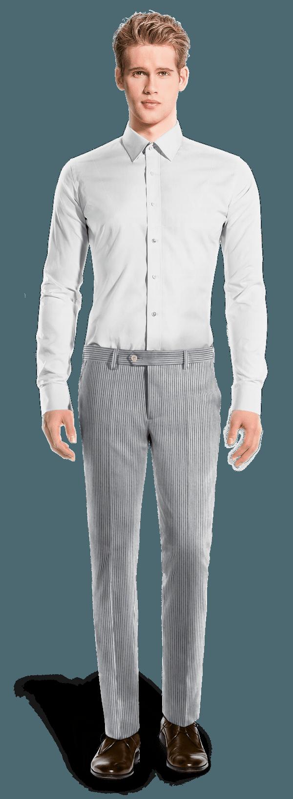 Blue slim fit striped seersucker Pants