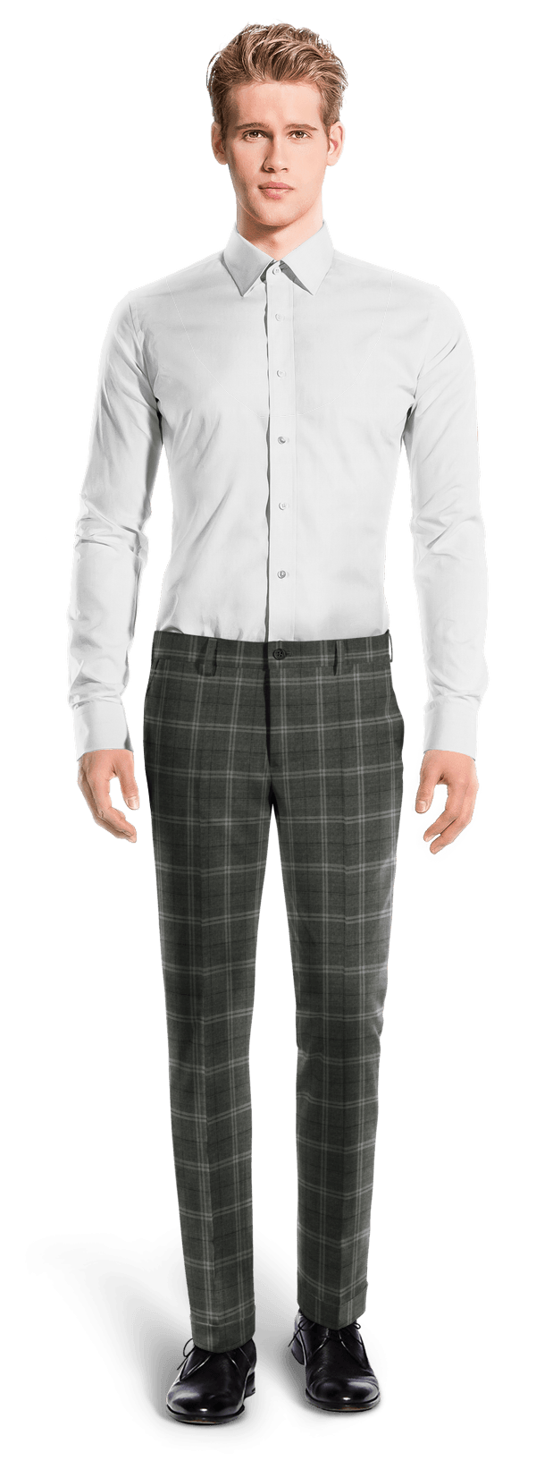 Grey slim fit checked wool Pants