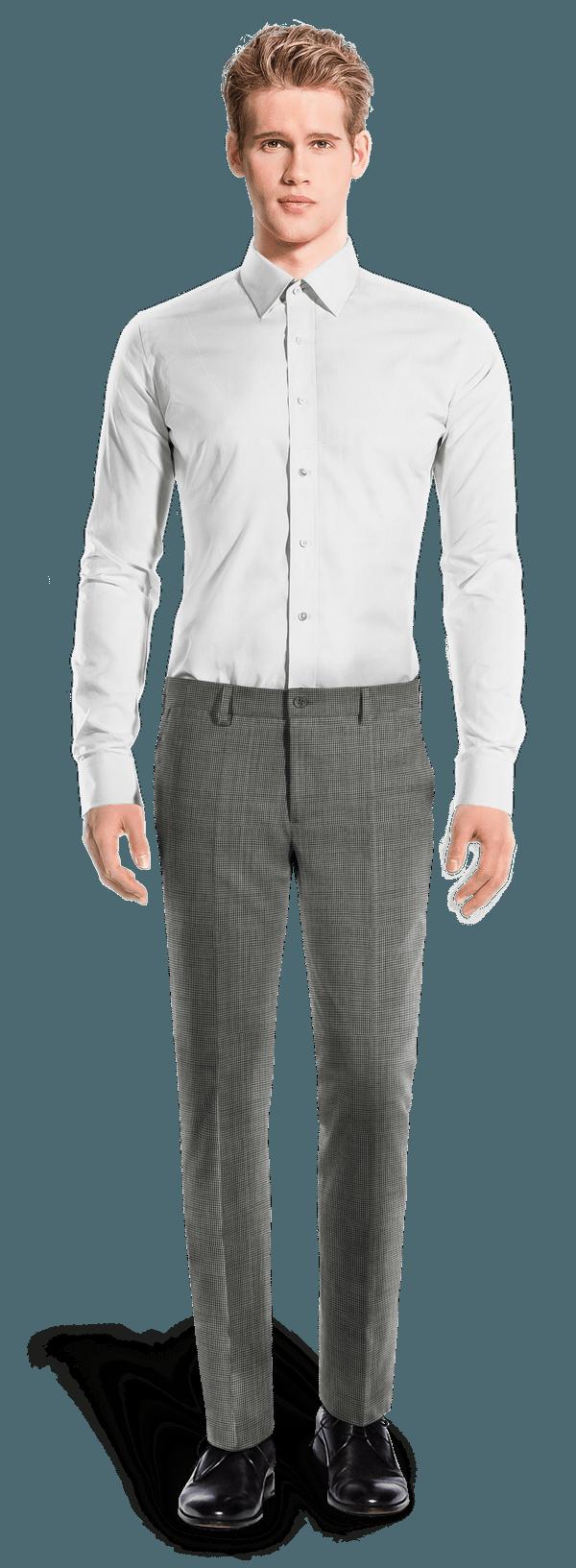 Grey slim fit Houndstooth wool Pants