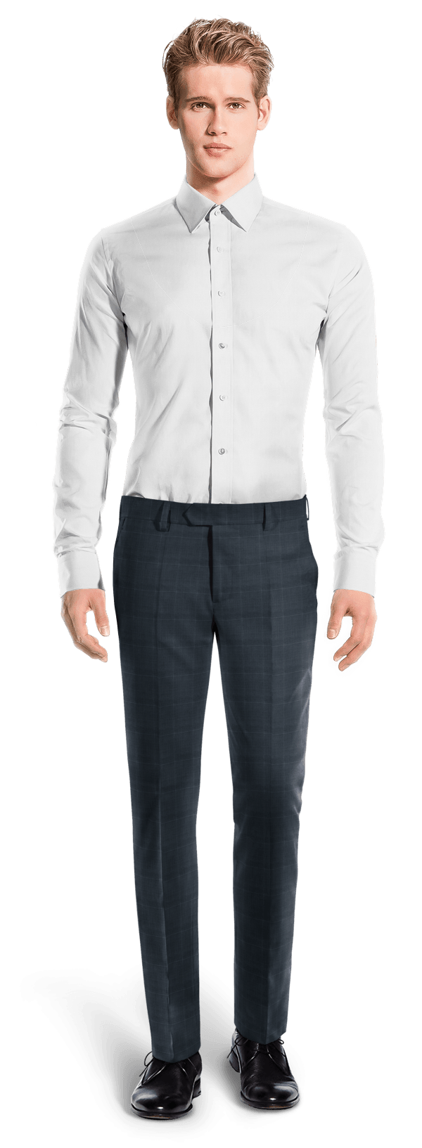 Blue slim fit checked in Merino wool Pants