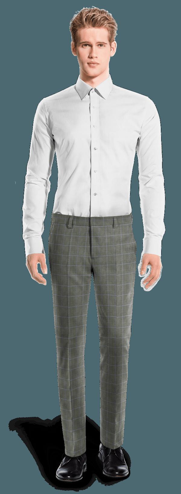 Grey slim fit checked wool Pants