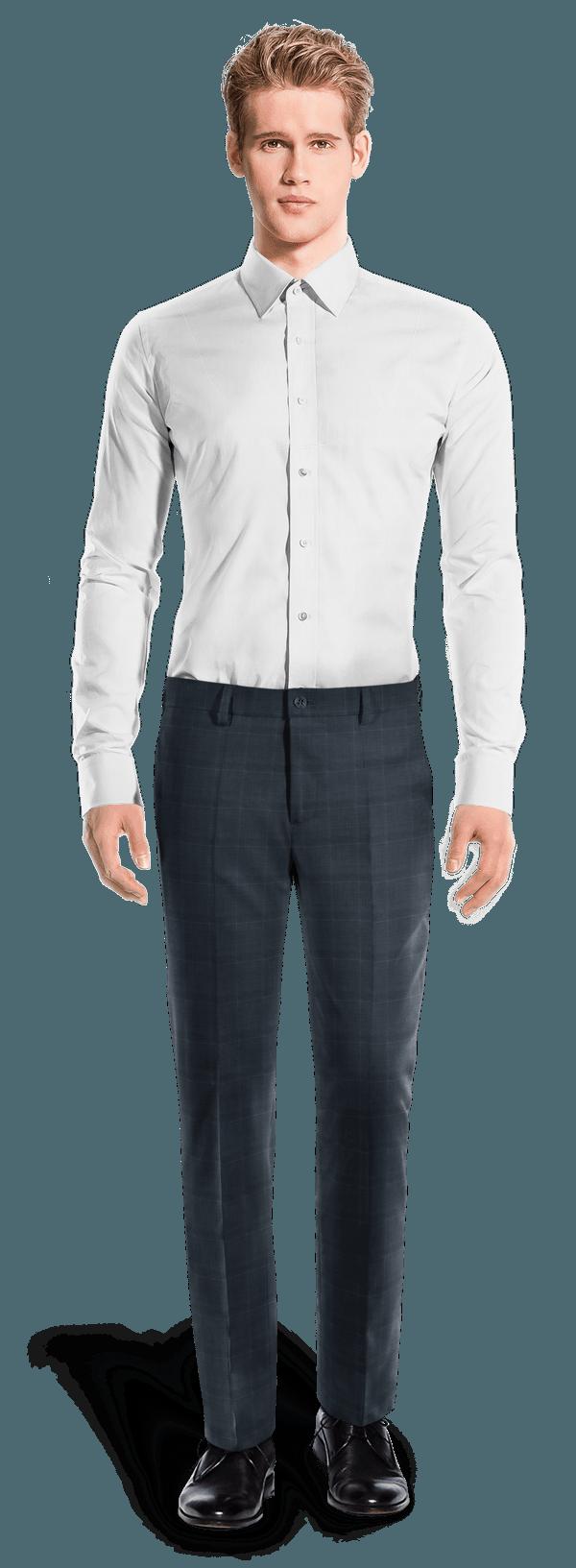 Pantalon bleu coupe droite à carreaux en Laine