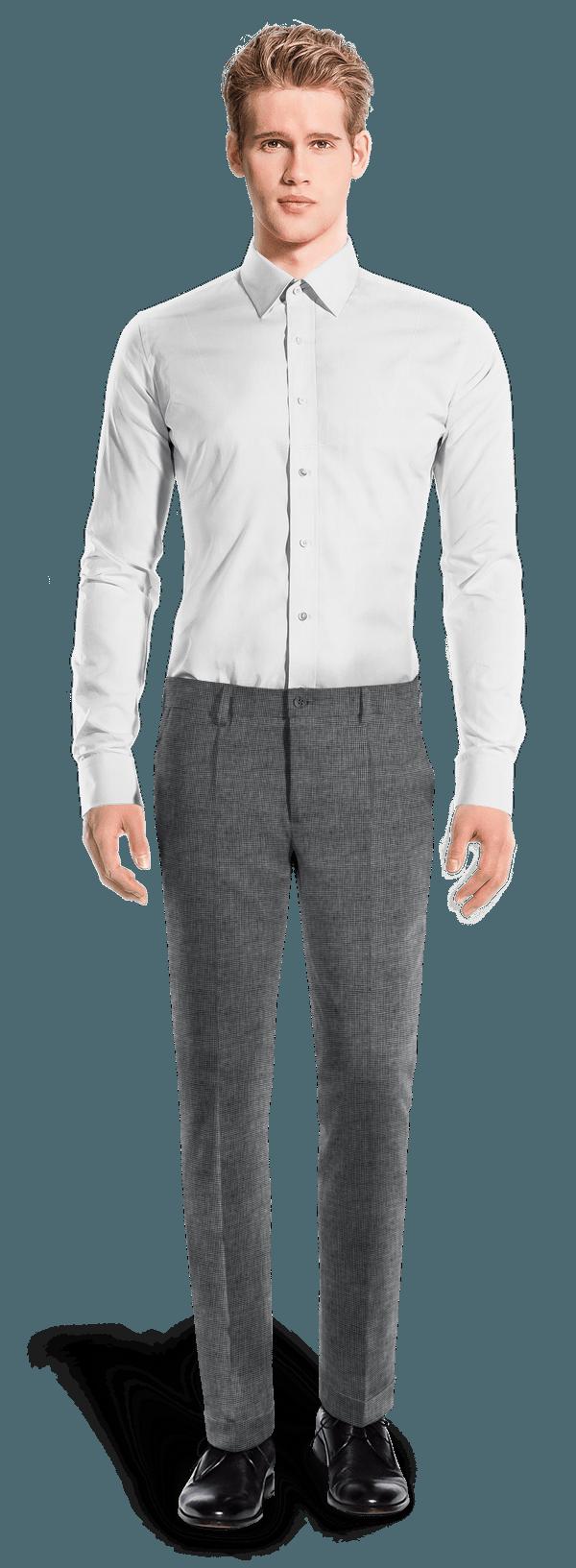 Blue slim fit Houndstooth linen Pants