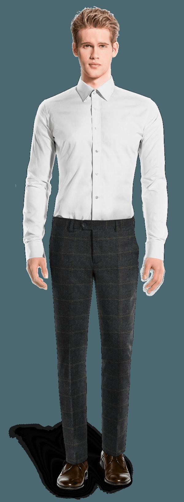 Blaue karierte Hose aus tweed