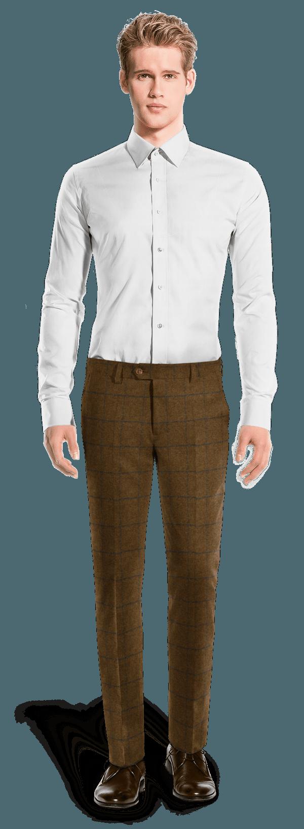 Braune karierte Hose aus tweed