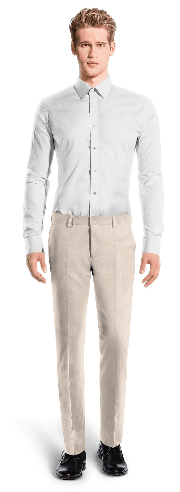 Beige slim fit wool Pants