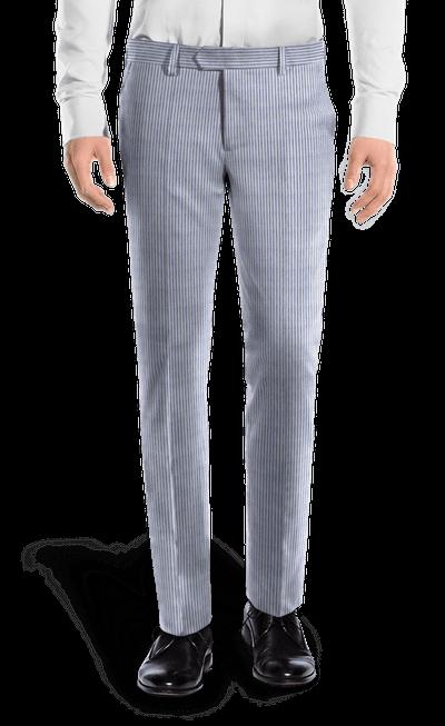 ab062a7894 Blue slim fit striped seersucker Pants