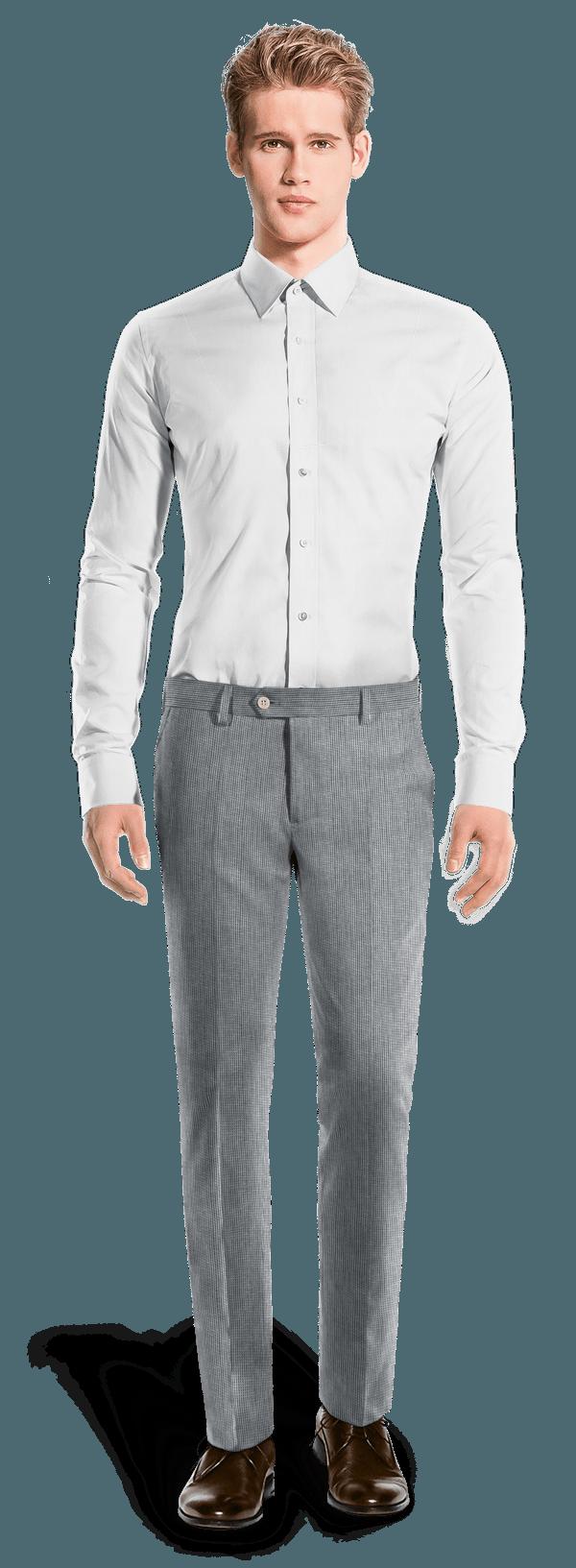 Pantalon bleu coupe cintrée à rayures en Lin