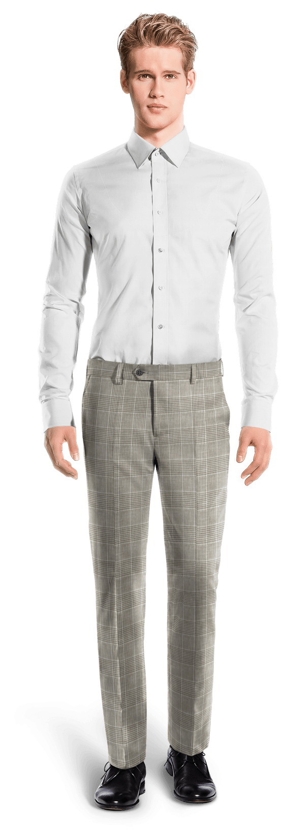 Beige straight fit checked linen Pants