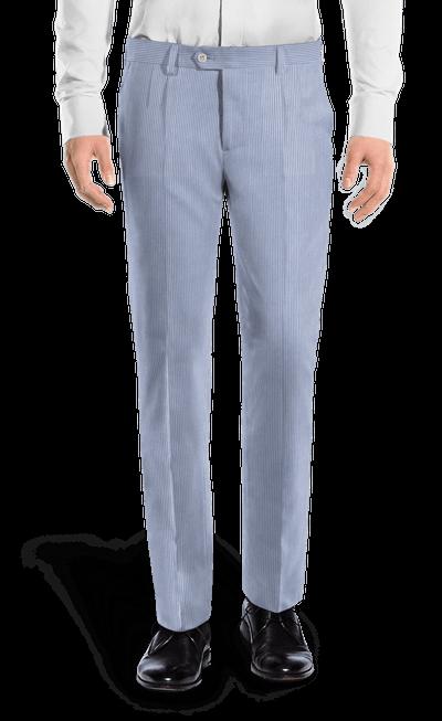 Regular Fit Light Blue Striped Seersucker Pleated Trousers 69