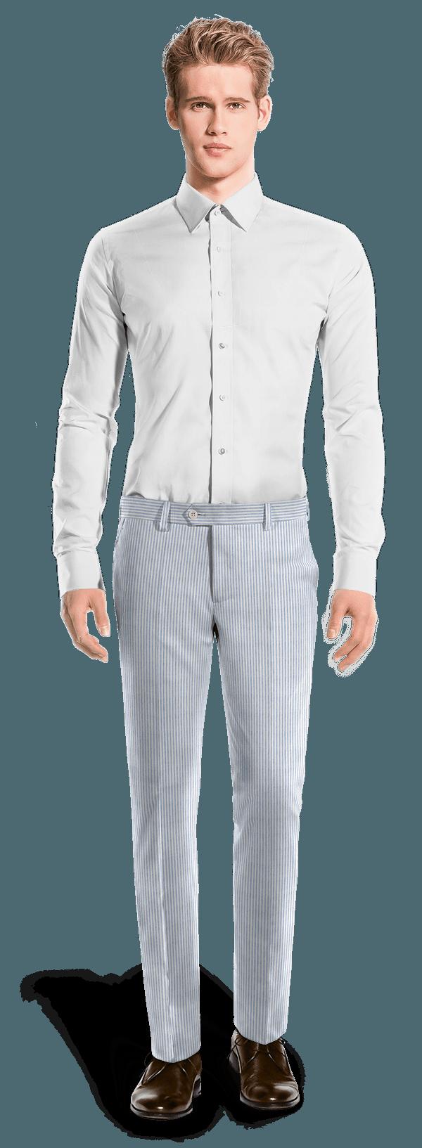 Blaue gestreifte Hose aus seersucker