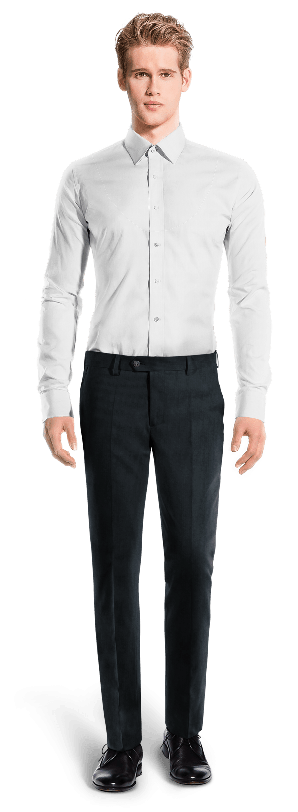 Blue slim fit striped corduroy Trousers
