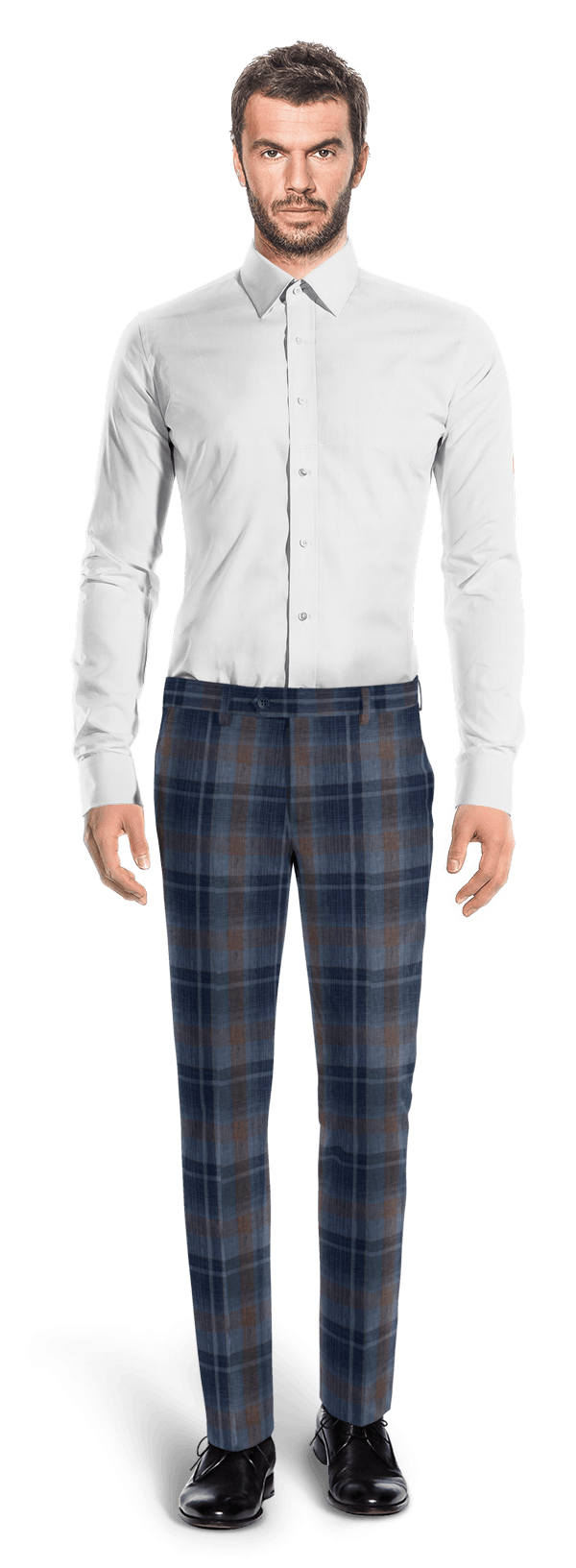 Blue slim fit checked linen Pants