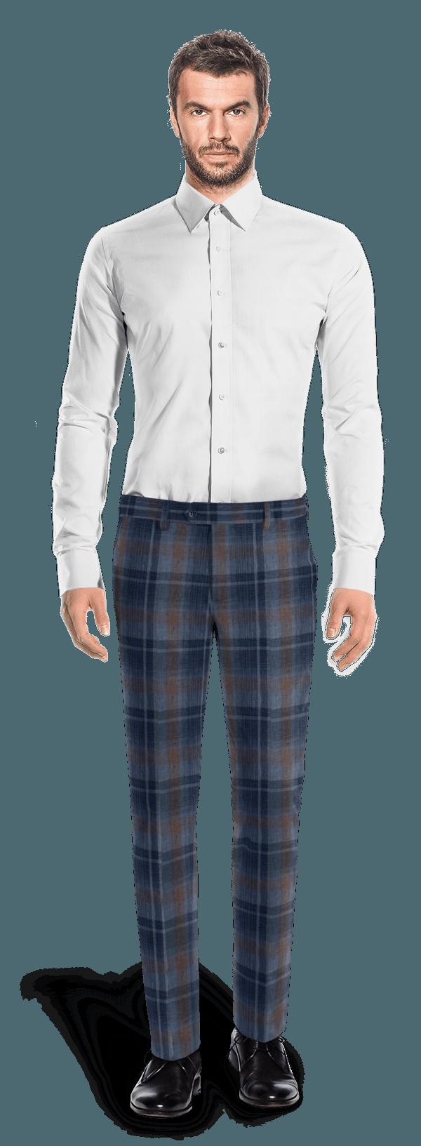 Blaue karierte Hose aus Leinen