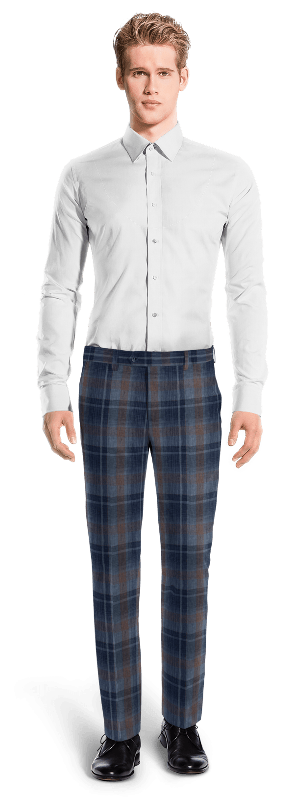 Blue straight fit checked linen Pants
